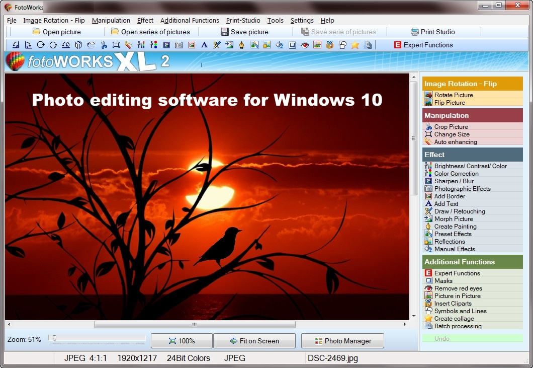 Photo editing software for Windows 10